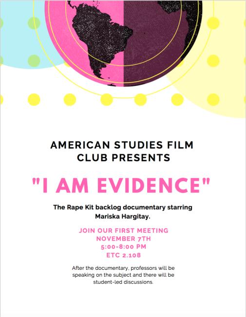 AMS Film Club Flyer I am Evidence
